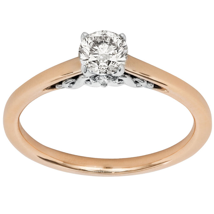 Round Cut Diamond Engagement Ring in 14K Rose and White Gold (0.50 ct tw)