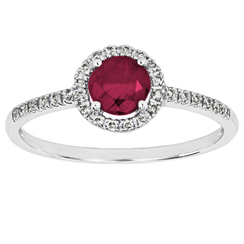 July Birthstone Ruby and Diamond Halo Ring in 14K White Gold (0.08ct tw)