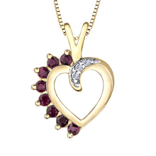 Load image into Gallery viewer, Heart Shape Ruby and Diamond Pendant in 10K Yellow Gold
