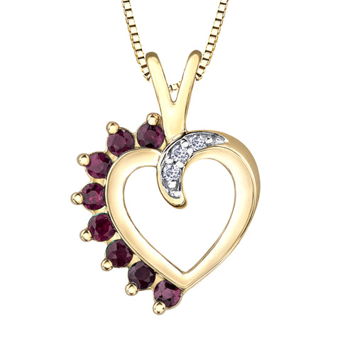 Heart Shape Ruby and Diamond Pendant in 10K Yellow Gold