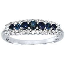 Load image into Gallery viewer, Sapphire and Diamond Band in 10K White Gold