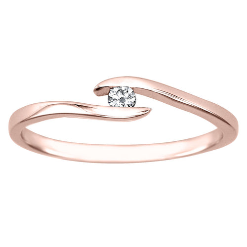 Solitaire Diamond Promise Ring In 10K Rose Gold (0.05CT TW)