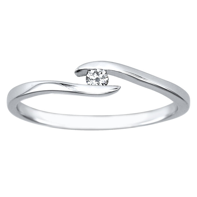 Solitaire Diamond Promise Ring in 10K White Gold (0.05ct tw)