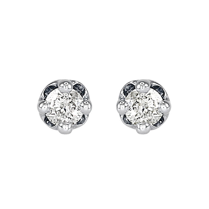 Solitaire Diamond Stud Earrings in 14K White Gold (0.10ct tw)