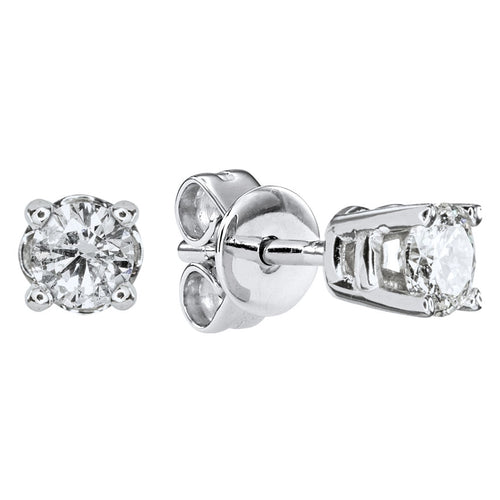 Solitaire Diamond Stud Earrings in 14K White Gold (0.15 ct tw)