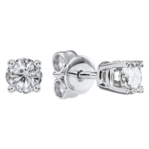 Solitaire Diamond Stud Earrings in 14K White Gold (0.30 ct tw)
