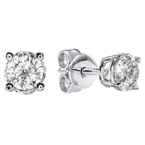 Solitaire Diamond Stud Earrings in 14K White Gold (0.50 ct tw)