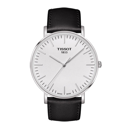 Tissot Everytime Silver/Black Leather Analog Quartz Men's Watch