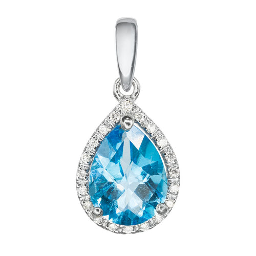 Tear Drop Blue Topaz and Halo Diamond Pendant in 14K White Gold