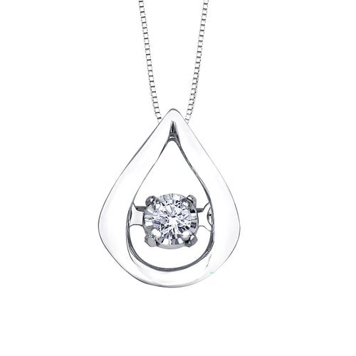Teardrop Dancing Diamond Pendant in 10K White Gold (0.02ct tw)