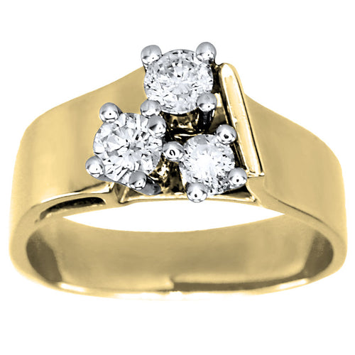 Three-Stone Diamond Cluster Ribbon Ring in 10K Yellow and White Gold (0.50ct tw)