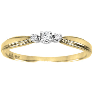 Three-Stone Diamond Promise Ring in 10K White and Yellow Gold (0.04ct tw)