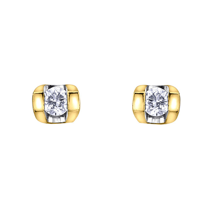 Solitaire Diamond Stud Earrings In 10K Yellow Gold (0.06ct wt)