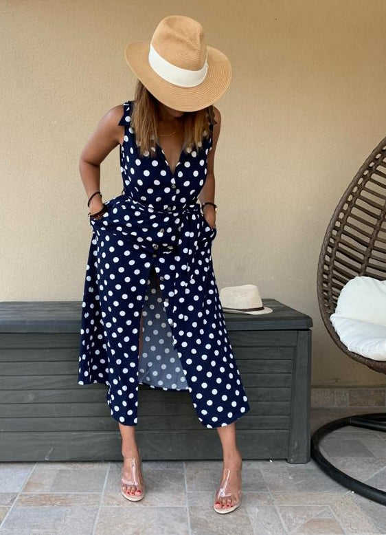 Mona Polka Dress, Navy Blue & White
