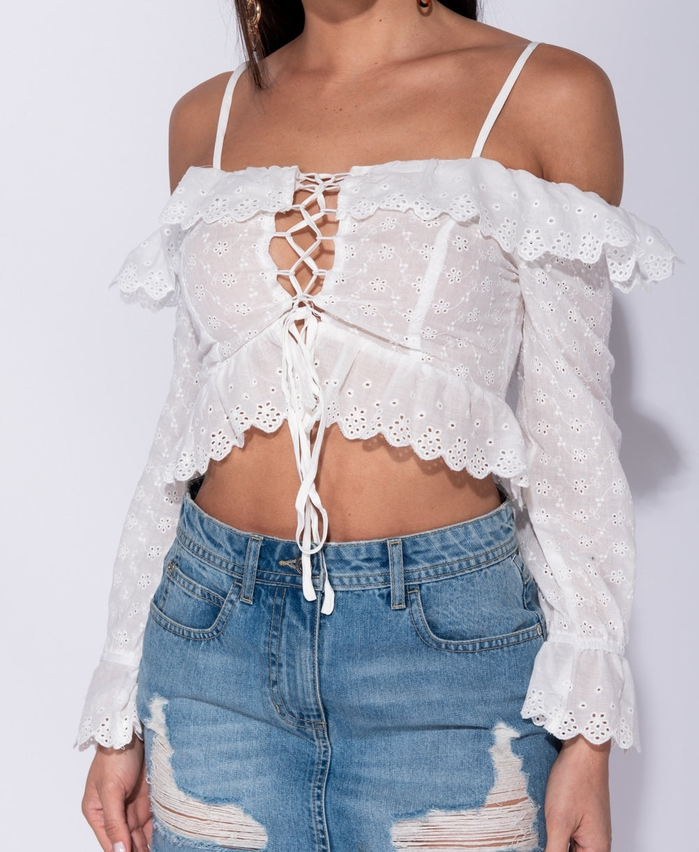 Sofia Broderie Anglaise Lace Tie Front Frill Trim Crop Top