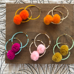 Fun Pom Pom Earrings | Golden Rule | Handmade Jewelry | Minneapolis | Zero Waste | Sustainable