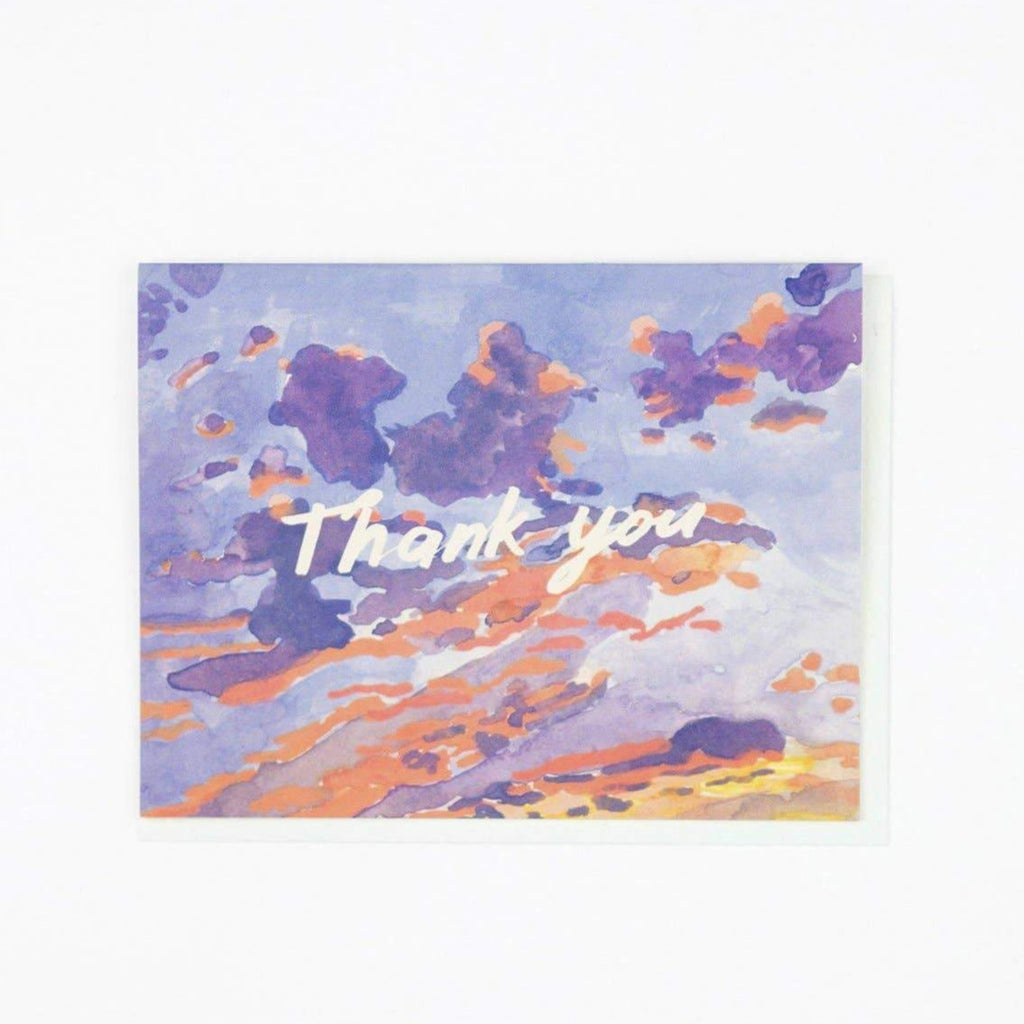 Thank You Card with Painted Sunset