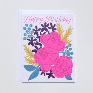 Happy Birthday With Neon Pink Bouquet Roses