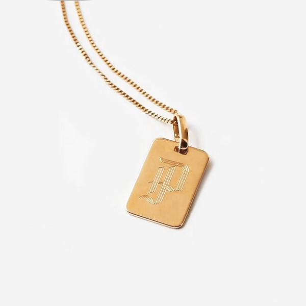 Old English Initial Pendant | Gold Initial Necklace | Gold Layering Necklace