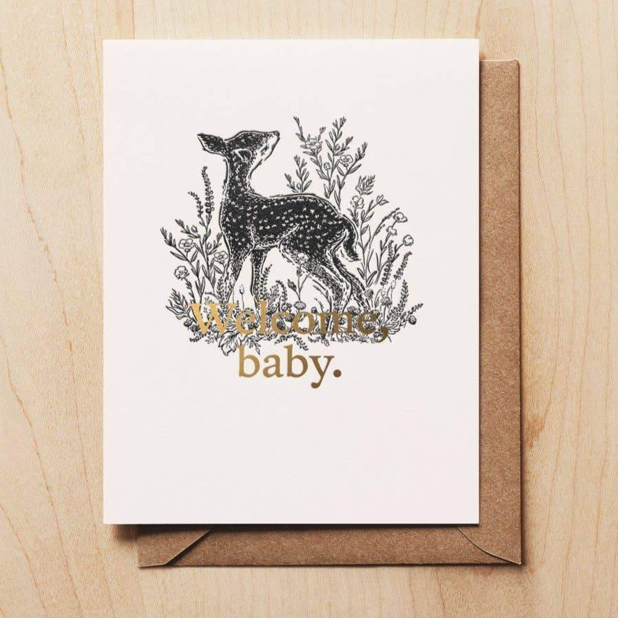 Welcome Baby Fawn Card | Baby Deer Card | Newborn Baby Card | Golden Rule Gallery | Woodsy Foxman | Excelsior, MN