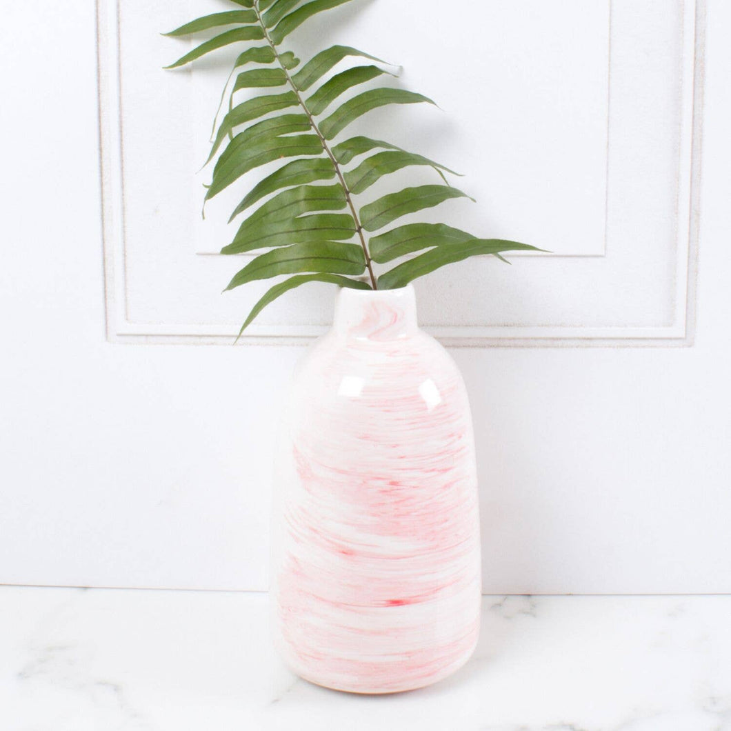 Small Vase in Pink Marbled Swirl
