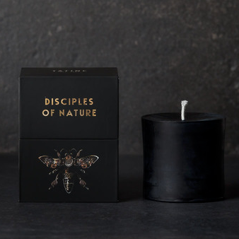 Black Pure Beeswax Pillar Candle | Tatine Candle | Disciples of Nature Candle | Black Candle | Golden Rule Gallery | Excelsior, MN
