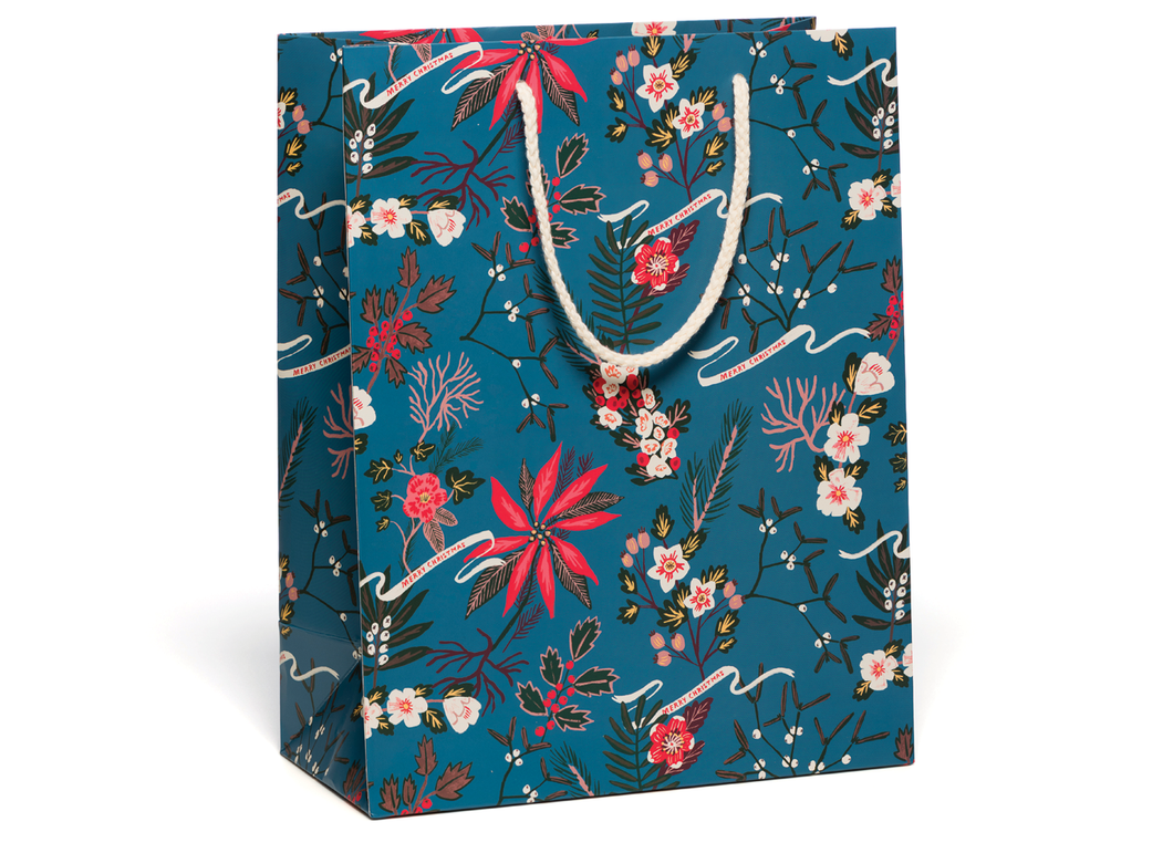 Blue Poinsettia Holiday Gift Bag