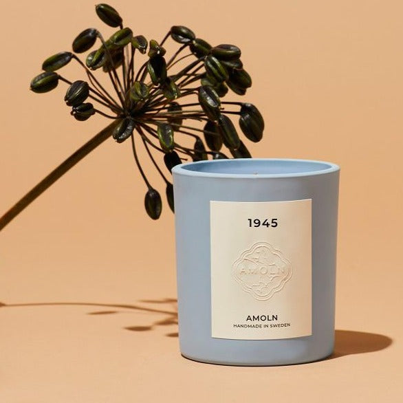 Amoln 1945 Candle with Botanicals in Swedish Blue | Amoln Candles | 1945 Amoln Candle | Handmade Swedish Candles | Golden Rule Gallery | Excelsior, MN