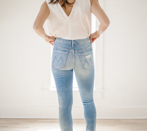 High Waisted Looker Ankle Chew - Mother Denim