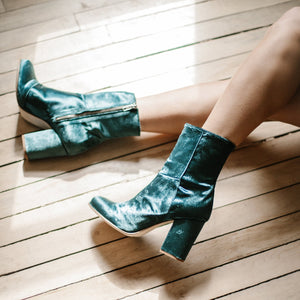 Myra Ankle Boots in Emerald Velvet
