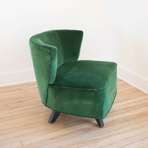 Emerald Green Velvet Midcentury Side Chairs