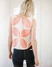 Load image into Gallery viewer, Marcell Top in Coral Leaf Print Linen