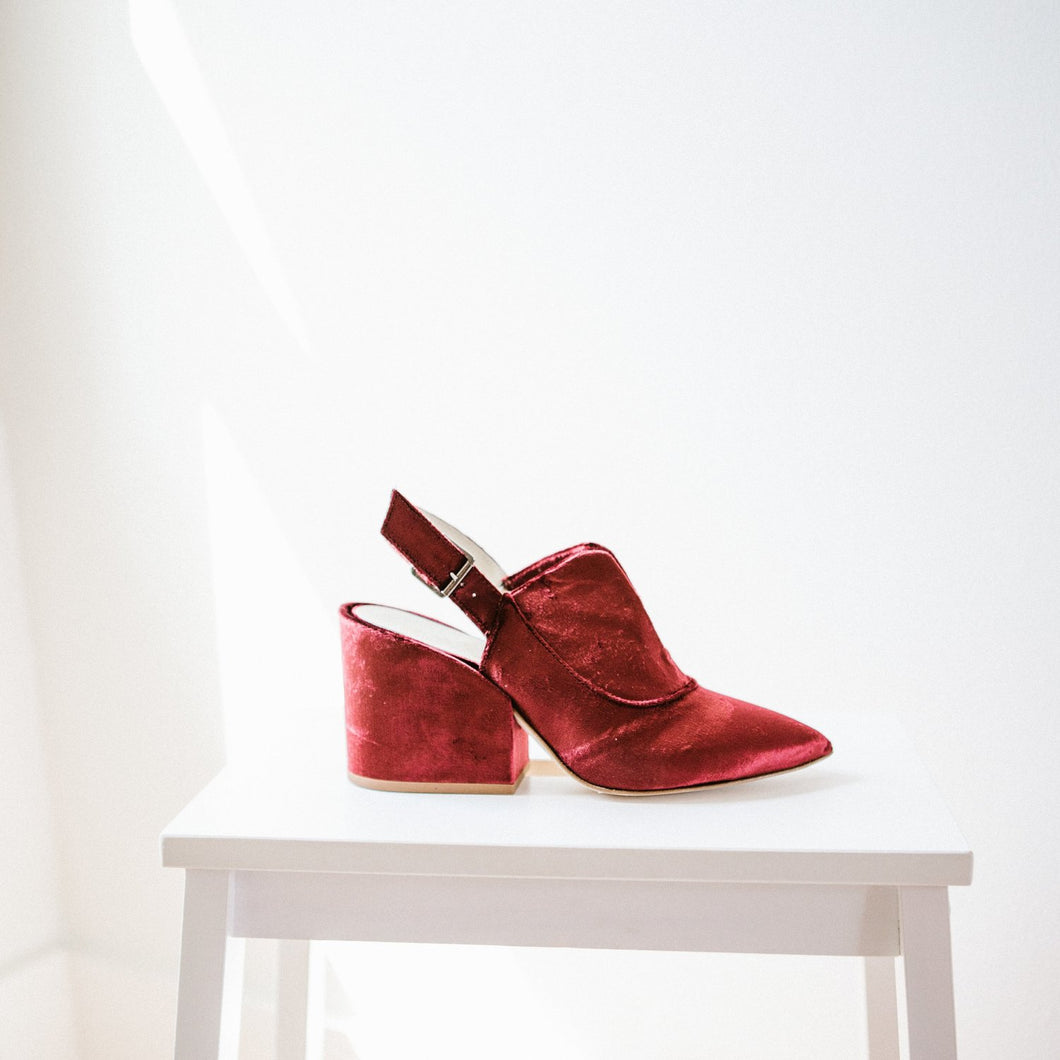 Astra Sling Back in Red Velvet - Size 36 Last Pair