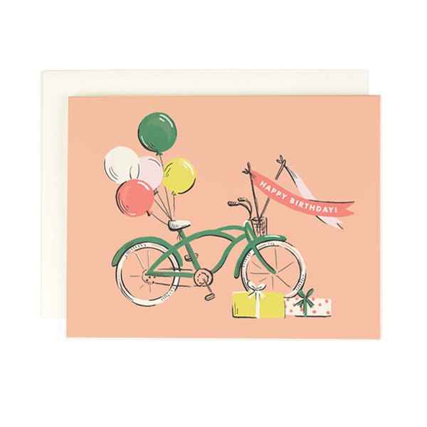 Birthday Card with Vintage Green Bike and Balloons