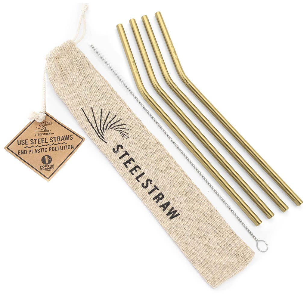 Gold Curved Metal Straw Gift Set