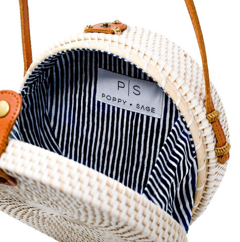 White Camilla Bag with Nantucket Navy Stripe