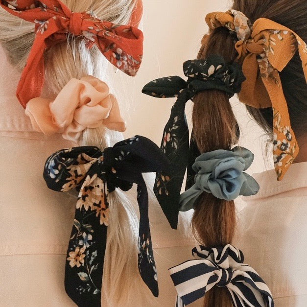 Small Satin Scrunchie with Bow | Satin Scrunchies | Satin Hair Accessories | BRITTs. BOWs | Golden Rule Gallery | Excelsior, MN