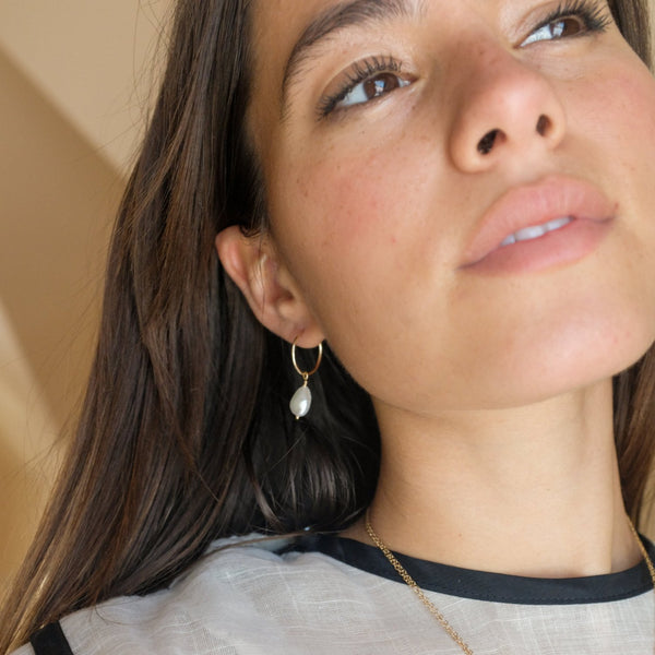 Freshwater Pearl and Gold Hoops | Minimal Classic Jewelry
