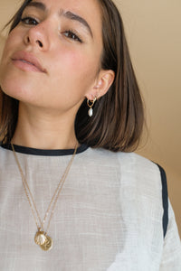 Gold Pearl Hoop on Model Layering Gold Jewelry