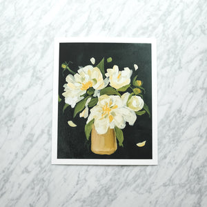Yellow Flowers in Gold Vase Art Print