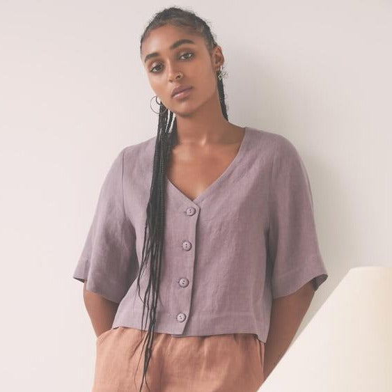 Favola Top | Eve Gravel | Linen Mauve Top | Summer Top | Golden Rule Gallery | Excelsior, MN