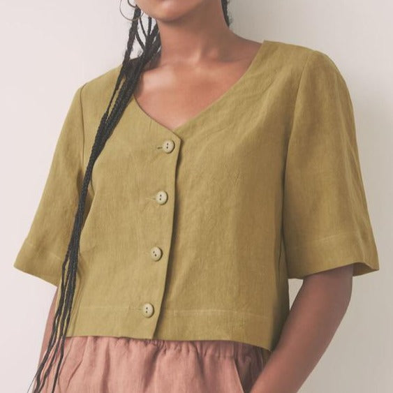 Favola Top in Olive | Linen Summer Top | Eve Gravel | Golden Rule Gallery | Excelsior, MN