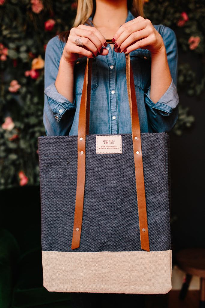 Apolis Navy Wine Tote | Golden Rule Wine Tote | Blue Wine Bag | Farmer's Market Bag | Golden Rule Gallery | Apolis | Excelsior, MN