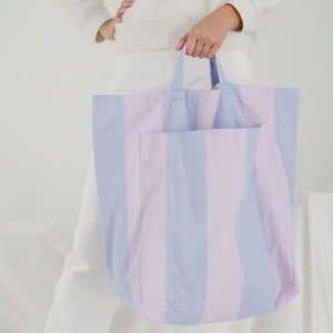 Giant Pocket Tote in Pale Orchid Stripe