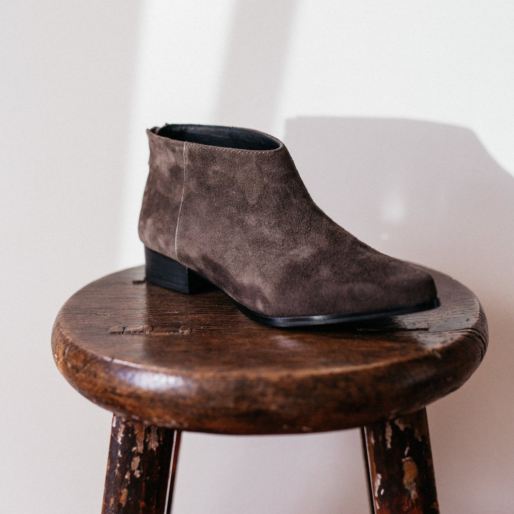 Pixie Ankle Boots in Charcoal Suede - Intentionally Blank Shoes