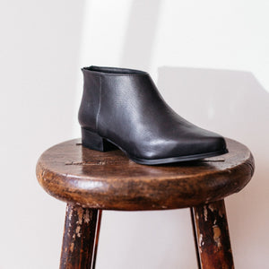 Pixie Ankle Boots in Black Leather - Intentionally Blank Shoes