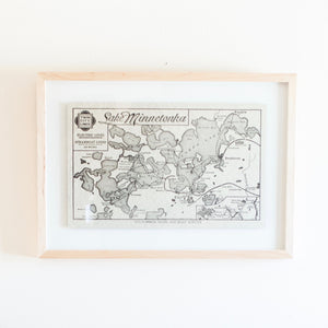 Lake Minnetonka Map Print Framed in Maple