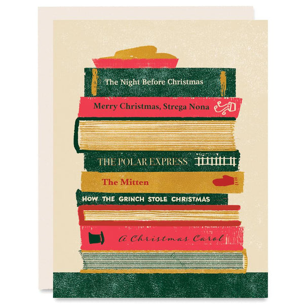 Stack of Christmas Books Indigo Printed Card | Heartell Press | Christmas Book Holiday Card | Golden Rule Gallery | Excelsior,MN