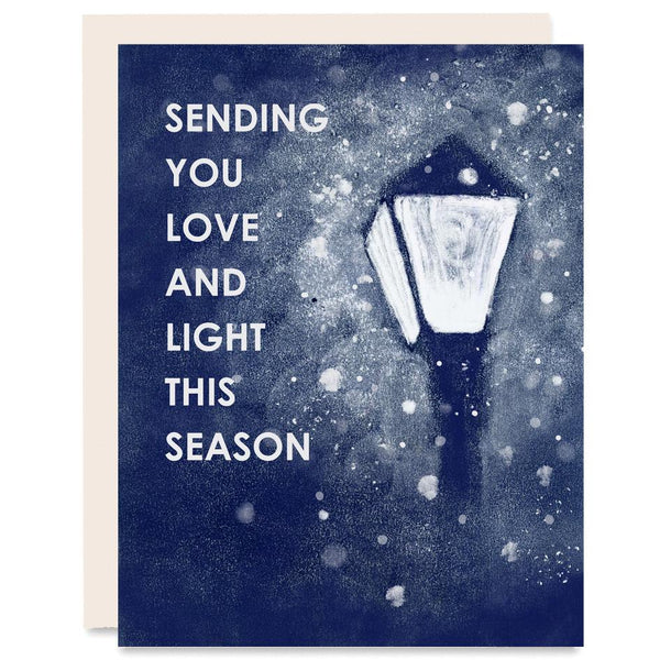 Love and Light Lamp Post Indigo Printed Card | Heartell Press | Golden Rule Gallery | Excelsior, MN