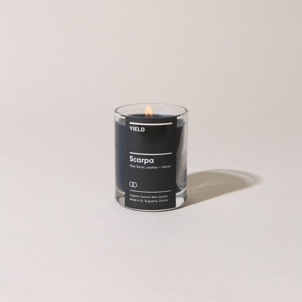 Scarpa Votive Candle | YIELD Candles | Palo Santo Leather Small Candle | Golden Rule Gallery | Excelsior, MN